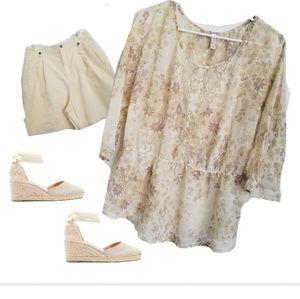 Sheer Cream Floral Peplum Blouse XL